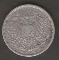 GERMANIA 1/2 MARK 1905 AG SILVER - [ 2] 1871-1918 : Impero Tedesco