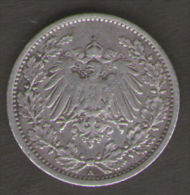 GERMANIA 1/2 MARK 1917 AG SILVER - [ 2] 1871-1918 : Impero Tedesco