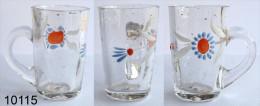 Réf 3d3 - Petit Verre émaillé Chope Avec Anse - Glass & Crystal