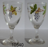 Réf 1f6  - Petit Verre émaillé Sur Pied - Glass & Crystal