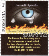 ROMANIA, 2015, ANGELS TEARS, Accidents, Fire, Health, Set Of 1 + Tab M1, MNH (**), LPMP 2085 - 1948-.... Repúblicas