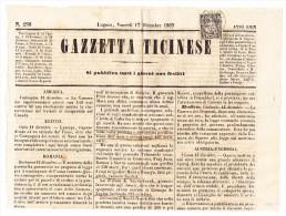 3Rp. Sitzende Auf Zeitungs Blatt Gazetta Ticinese 17.12.1869 - 1862-1881 Sitzende Helvetia (gezähnt)
