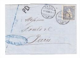Sitzende 30Rp. Auf Brief 11.6.1869 Basel Nach Paris - 1862-1881 Helvetia Assise (dentelés)