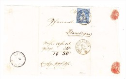 Sitzende 30Rp. Aus Weissem Papier #41b Auf NN Teil Brief 20.8.1868 Trubschachen Attest Guinand - 1862-1881 Sitzende Helvetia (gezähnt)