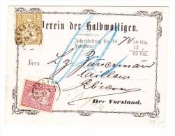 Emmenbrücke 24.10 Zwergstempel 10 Und 2Rp Sitzende Auf Vereins Jahresbetragskarte - 1862-1881 Helvetia Assise (dentelés)