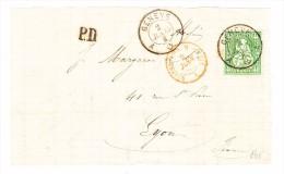 Genève 2.6.1865 Mit Sitzende 40Rp. Auf Briefstück Nach Lyon - 1862-1881 Sitzende Helvetia (gezähnt)