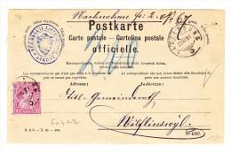 Laufenburg 22.11.1881 Sitzende 10Rp Faser Papier Auf NN Postkarte Nach Wolfinschwyl - 1862-1881 Helvetia Assise (dentelés)