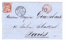 Genève 31.5.1866 2Kreis Stempel Und 30Rp Sitzende Auf Briefhülle Nach Paris - 1862-1881 Helvetia Assise (dentelés)