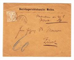 Meilen 15.12.1875 Und 20Rp Sitzende EF Auf Brief Nach Zürich - 1862-1881 Helvetia Assise (dentelés)