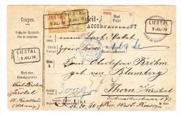 Liestal 9.7.1878 Im Kasten Mit 20Rp Und 1Fr Sitzende Helvetia Auf Pakatkarte Nach Thorn A.d.Weichsel (Heute Polen) - 1862-1881 Sitzende Helvetia (gezähnt)