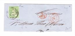 Basel 7.7.1865 40Rp Sitzende Auf Grossem Briefteil Mit Transit Stempel Rot Suisse St Louis Und 7 AED - 1862-1881 Helvetia Assise (dentelés)