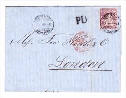 Zürich 6.6.1868 EF 50Rp Sitzende Helvetia #43 Auf Brief Nach London - 1862-1881 Helvetia Assise (dentelés)