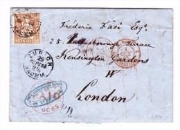 Zürich 29.9.1865 EF 60Rp Sitzende Helvetia Auf Brief Nach London - 1862-1881 Helvetia Assise (dentelés)