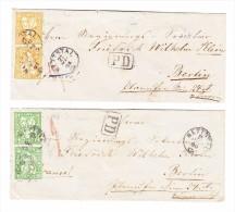 Lot 2 Briefe 1865/66 Mit Sitzende Helvetia Beide Mit Fingerhutstempel Von Nettstal Gesendet Nach Berlin - 1862-1881 Helvetia Assise (dentelés)