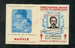 FRANCE CARNET VIGNETTE ANTI TUBERCULEUX AVEC PUBLICITÉ 1949 21e CAMPAGNE NATIONALE NEUF : - Tegen Tuberculose