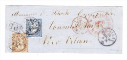 Herisau 28.3.1866 Mit 1Fr. Und 10Rp. Sitzende Helvetia Auf Brief Nach New-Orleans Attest Guinand - 1862-1881 Helvetia Assise (dentelés)