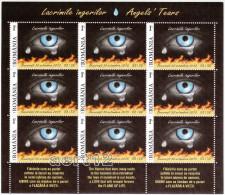 ROMANIA, 2015, ANGELS TEARS, Accidents, Fire, Health, Sheet Of 9 + 3 Tabs, MNH (**), LPMP 2085 - 1948-.... Repúblicas