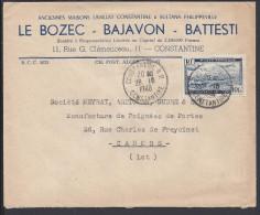 ALGERIE - 1948 - P. AERIENNE 10 Fr SUR ENVELOPPE DE CONSTANTINE VERS CAHORS - FR - - Algérie (1924-1962)
