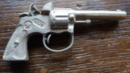 Ancien Revolver En Tôle HUB Made In Usa, Années 40 - Jouets Anciens