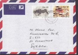 South Africa Lugpos Air Mail Par Avion WESTVILLE 1987 Cover Brief Sweden Cave Drawings Felsenzeichnungen Antilope & Gnu - Brieven En Documenten