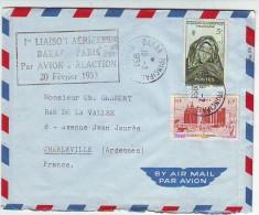LETTRE Avec GRIFFE 1re LIAISON AERIENNE DAKAR PARIS Par AVION à REACTION 20 Février 1953.DAKAR PRINCIPAL. PARIS AVIATION - Luftpost