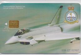 GIBRALTAR PHONECARDS EUROFIGHTER TYPHOON  C07-3000pcs -1/99-USED - Flugzeuge