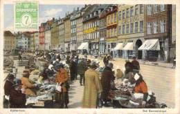 Danemark - Kjobenhavn - Ved Gammelstrand (marché) (colorisée) - Denemarken
