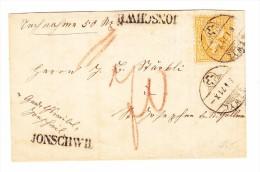 Jonschwil Stabstempel 6.1.1871 Uzwyl 20Rp Sitzende Auf Grossem Briefstück - 1862-1881 Helvetia Assise (dentelés)