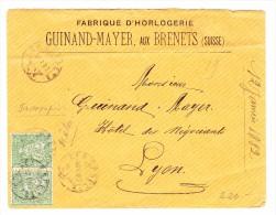 Les Brenets 12.1.1882 Waagrechtes Paar 25Rp Sitzende Auf Brief Nach Lyon Frankreich - 1862-1881 Helvetia Assise (dentelés)