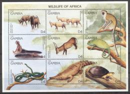 Gambia 1996 - MNH - Antilope, Hippo, Monkey, Reptiles, Snake, Turtle - Francobolli