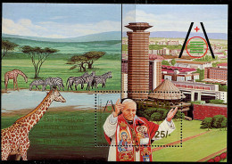 (cl.12 - P.23) Kenya ** Bloc N° 24 (ref. Michel Au Dos) - Pape Jean Paul II; Girafes, Zèbres - - Girafes