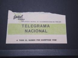 PEROU - Enveloppe Télégramme Intérieur - 1983 - Pas Courant - A Voir - P16151 - Pérou