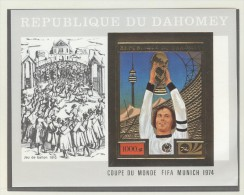 DAHOMEY Imperforated GOLD Block Beckenbauer With SILVER Margin Mint Without Hinge - 1974 – West Germany