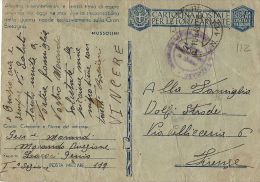 FRANCHIGIA WWII POSTA MILITARE 112 1943 BASTIA CORSICA X FIRENZE - 1900-44 Victor Emmanuel III