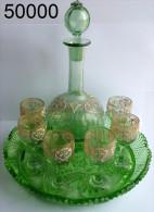 Réf 6a2 - Service Carafe Avec 6 Verres émaillés Legras Avec Plateau - Glass & Crystal