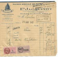 """FACTURE Ets JACQUINOT MAISON DE CAFES """"A LA RUCHE"""" RUE DOUDEAUVILLE à PARIS 18 1949 - France"""