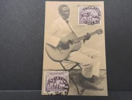 """CONGO BELGE - Superbe Carte """"Joueur De Guitare"""" De Leopoldville Pour La France - Mars 1927 - A Voir - P16161"""