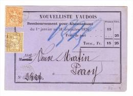 Lausanne 27.10.1876 Sitzende Helvetia 2 Und 20Rp Auf  Abo Beleg Nouvelliste Vaudois - 1862-1881 Helvetia Assise (dentelés)