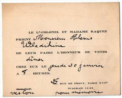 VP2736 - PARIS -  Carte D´invitation  Le Lt - Colonel Et Madame RAQUEZ - Cartes