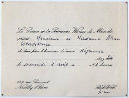 VP2737 - NEUILLY SUR SEINE  -  Carte D´invitation  Le Prince WERNER De MERODE - Cartes