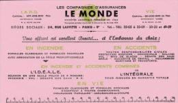 """Assurances  """"Le Monde """" - Format 12,5 X 21,7  Cm - Banco & Caja De Ahorros"""