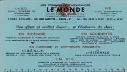 """Assurances  """"Le Monde """" - Format 12,5 X 21,7  Cm - Banca & Assicurazione"""