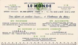 """Assurances  """"Le Monde """" - Format 12,5 X 21,7  Cm - Bank & Insurance"""