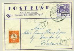Nederlands Indië - 1947 - 5 Cent Strafport Op Postblad - Alleen Voorzijde / Front Only - Netherlands Indies