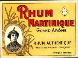 Etiquette RHUM MARTINIQUE Grand Arôme, Rhum Authentique Colonies Françaises - Rhum