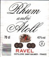 Etiquette RHUM Ambré ATOLL - RAVEL, Distillerie Saint Galmier, France - Rhum
