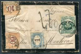 1878 Peru Mourning Cover - Mantova Italy, Postage Due, Taxe Via London, GB - Peru