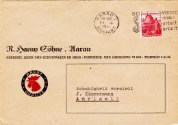 Aarau-R.Haeny Söhne,Gerberei Leder, Schuhwaren. Couvertvorderseite Mit Werbung. - AG Argovie