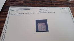 LOT 296186 TIMBRE DE COLONIE GENERALE OBLITERE N�47 REUNION  BLOC