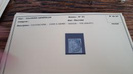 LOT 296189 TIMBRE DE COLONIE GENERALE OBLITERE N�51 COCHINCHINE VALEUR 65 EUROS  BLOC